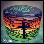 Easter cake painted stained glass cross sunrise